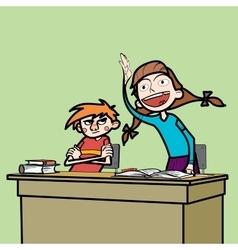 Schoolboy and schoolgirl in the classroom vector