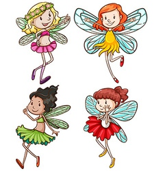 Simple sketches of fairies vector image