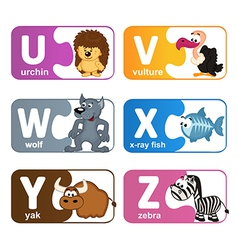 stickers alphabet animals from U to Z vector image vector image