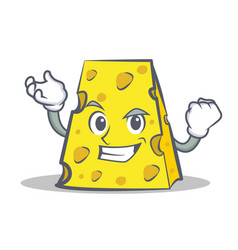 Successful cheese character cartoon style vector