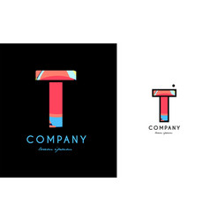 t blue red letter alphabet logo icon design vector image