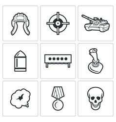 Tank biathlon icons vector