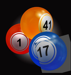 Trio of bingo lottery balls with single panel vector