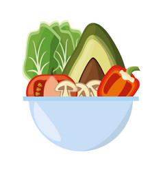 vegetables salad bowl vector image vector image