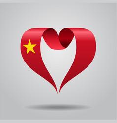 Vietnamese flag heart-shaped ribbon vector
