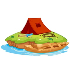vaious objects for camping and a canoe vector image