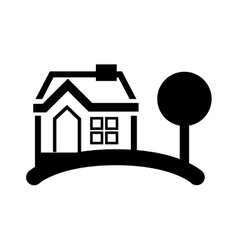 House and tree silhouette vector