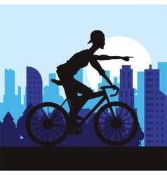 Man riding bike and city background design vector