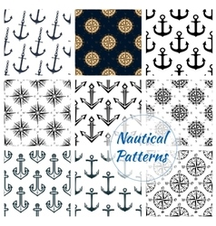 Nautical heraldic navy seamless patterns set vector