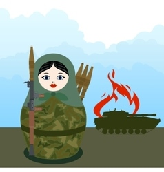 Matryoshka with a bazooka vector image