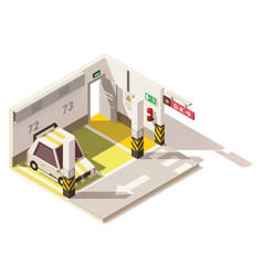 Isometric low poly underground car parking vector