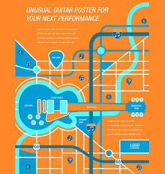 a map a poster a guitar vector image