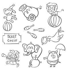 doodle of various element circus vector image