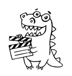Dragon with movie clapper board vector