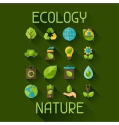 Ecology set of environment and pollution icons vector