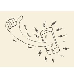 Smart phon perfectly thumb up mobile hand drawn vector