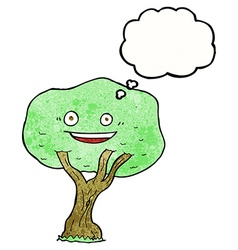 Cartoon tree with thought bubble vector