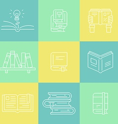 Thin line books vector