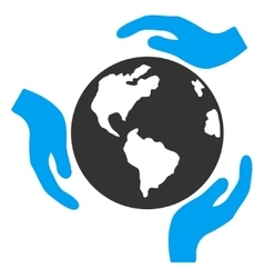 Earth protection icon vector