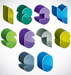 3d futuristic numbers set in blue and green colors vector