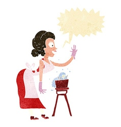 Cartoon housewife washing up with speech bubble vector