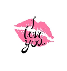I love you kiss red lips pink vector
