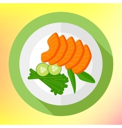 Sliced salmon pieces cucumber flat vector