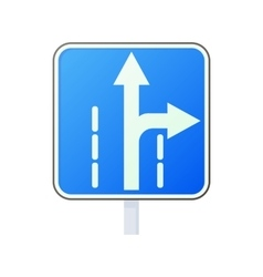 Warning traffic sign drive straight or right icon vector