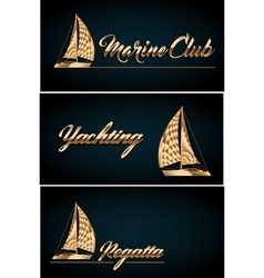 Sailing yacht Business card template vector image