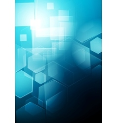 Blue technology geometric background vector