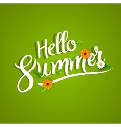 Hello summer lettering typography with flowers on vector