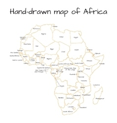 Africa hand-drawn sketch map vector