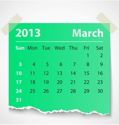 2013 calendar march colorful torn paper vector image