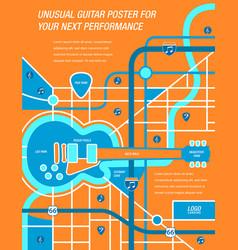 A map a poster a guitar vector