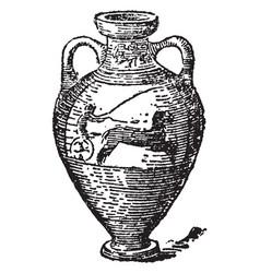 Amphora jar for carrying wine vintage engraving vector