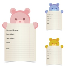 Baby name paper with teddy vector
