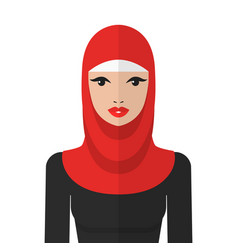 Beautiful muslim woman in hijab flat icon vector