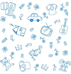 Blue funny draw doodle vector