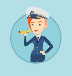 cheerful airline pilot with model airplane vector image