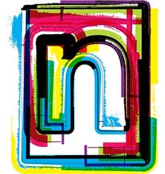 Colorful grunge font letter n vector