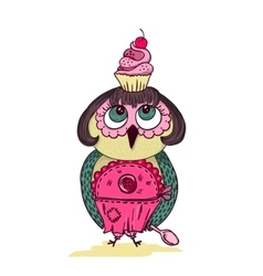 Cute cartoon colored owl with cake on the head vector image