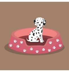 Dalmatian puppy footprint pink bed vector
