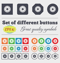 Diaphragm icon aperture sign big set of colorful vector
