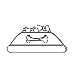 Dog food bowl icon vector