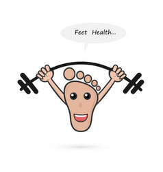 Footprint and barbell with foot care concepthuman vector