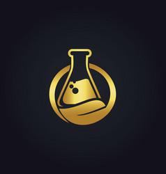Gold bio organic lab logo vector