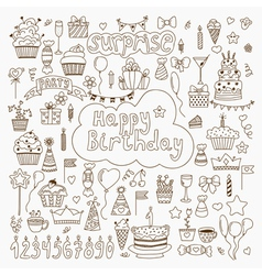 Hand drawn birthday elements set of birthday party vector