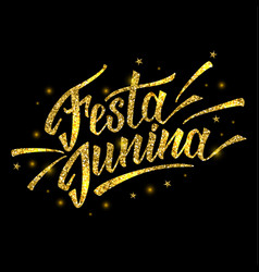 Hand drawn logotype for festa junina festival of vector