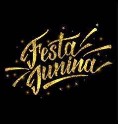 Hand drawn logotype for festa junina festival of vector