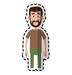 happy bearded man cartoon icon image vector image vector image